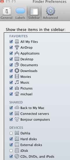 Finder Settings